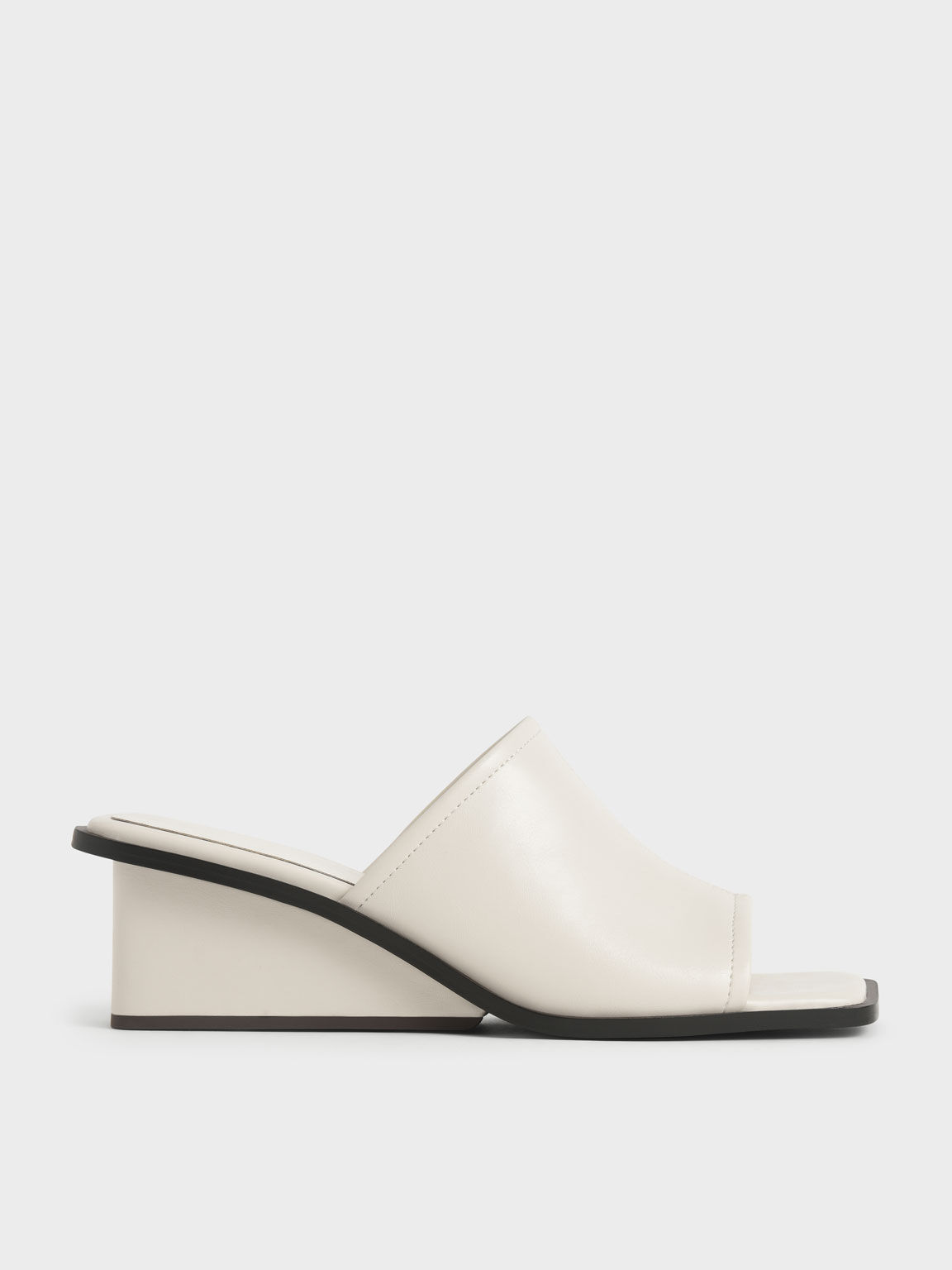 Sandal Square Toe Wedge Mules, Chalk, hi-res