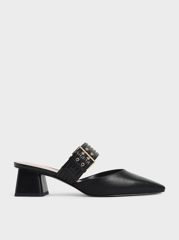 Sepatu Grommet Strap Mules, Black, hi-res