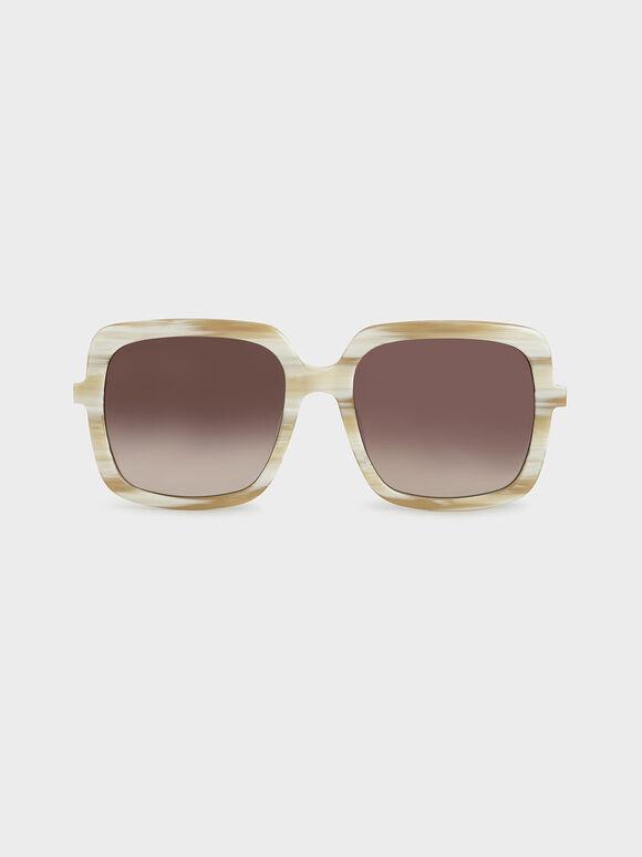 Square Acetate Sunglasses, Cream, hi-res
