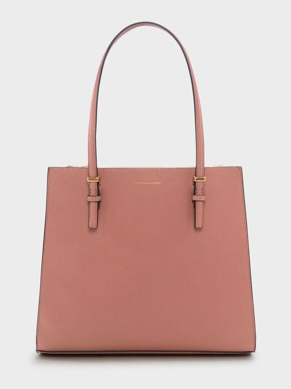 Chain Handle Bag, Blush, hi-res