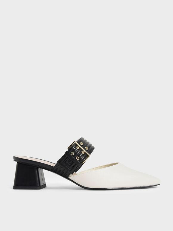 Sepatu Two-Tone Grommet Strap Mules, Chalk, hi-res