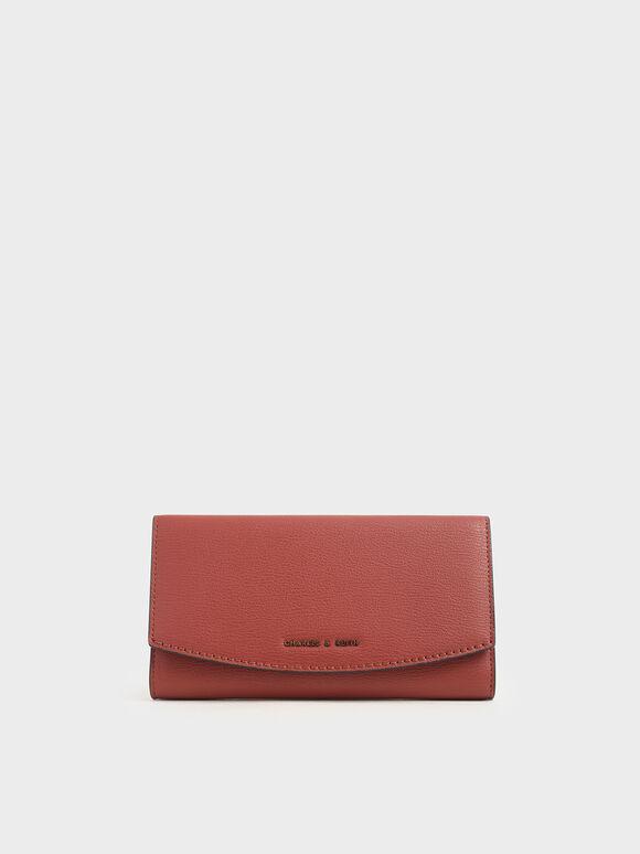 Dompet Panjang Flap Mini Depan, Clay, hi-res