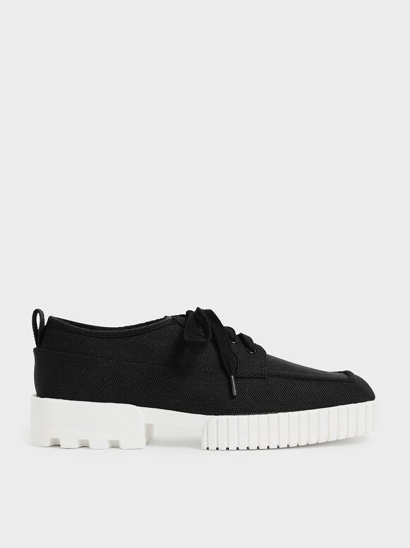 Sepatu Sneakers Recycled Polyester Low-Top, Black, hi-res