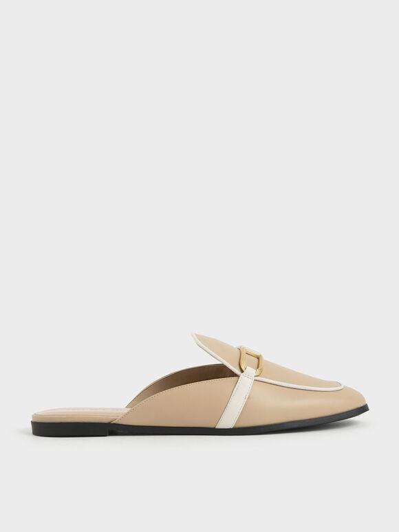 Sepatu Metallic Accent Mule Flats, Beige, hi-res