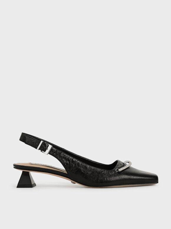 Sepatu Gem-Embellished Leather Slingback Pumps, Black, hi-res