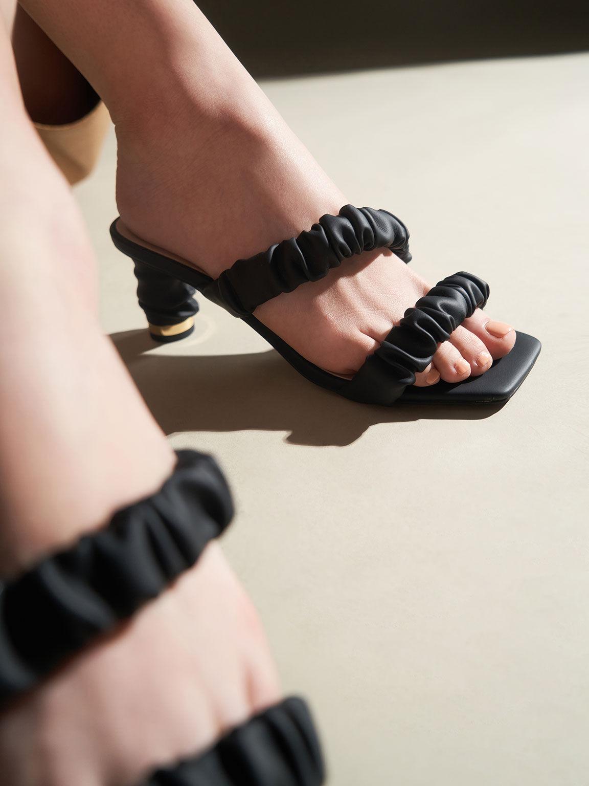 Sandal Ruched Strap Mules, Black, hi-res