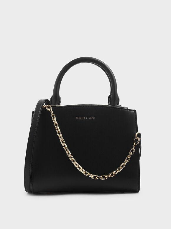 Tas Handbag Chain Link Classic, Black, hi-res