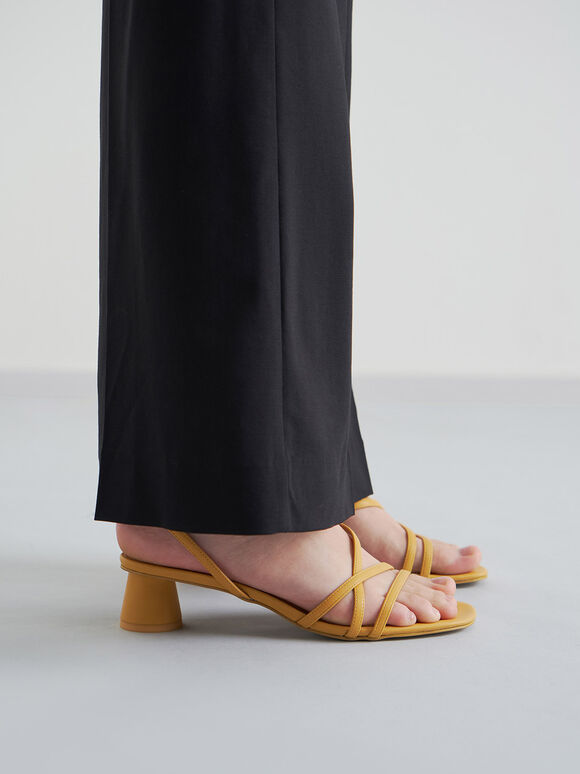 Sandal Strappy Cylindrical Heel, Yellow, hi-res