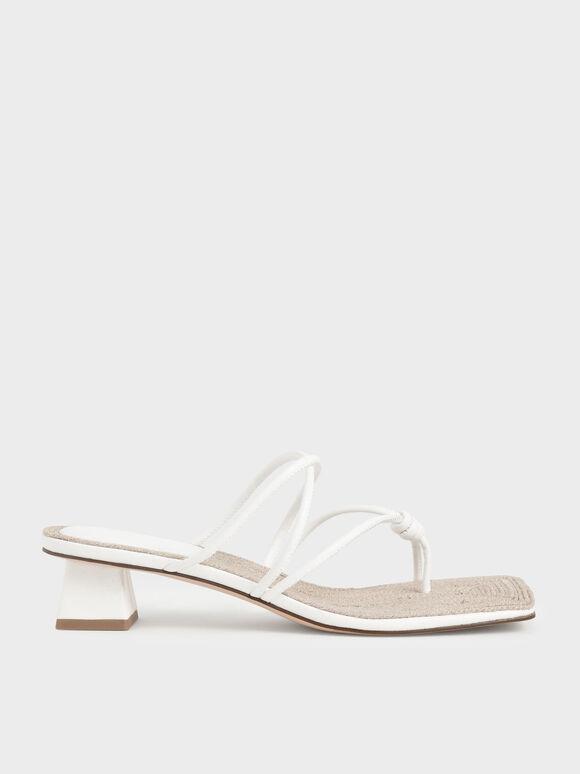 Sandal Toe Loop Strappy Heeled, White, hi-res