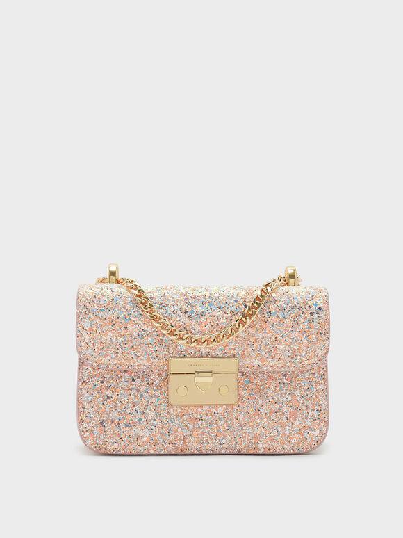 Glitter Metallic Push-Lock Handbag, Pink, hi-res