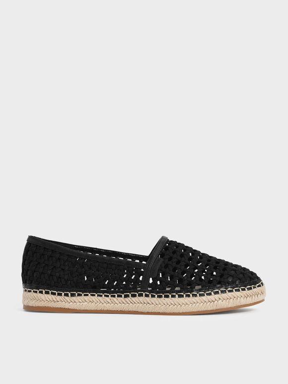 Sepatu Woven Espadrilles, Black, hi-res