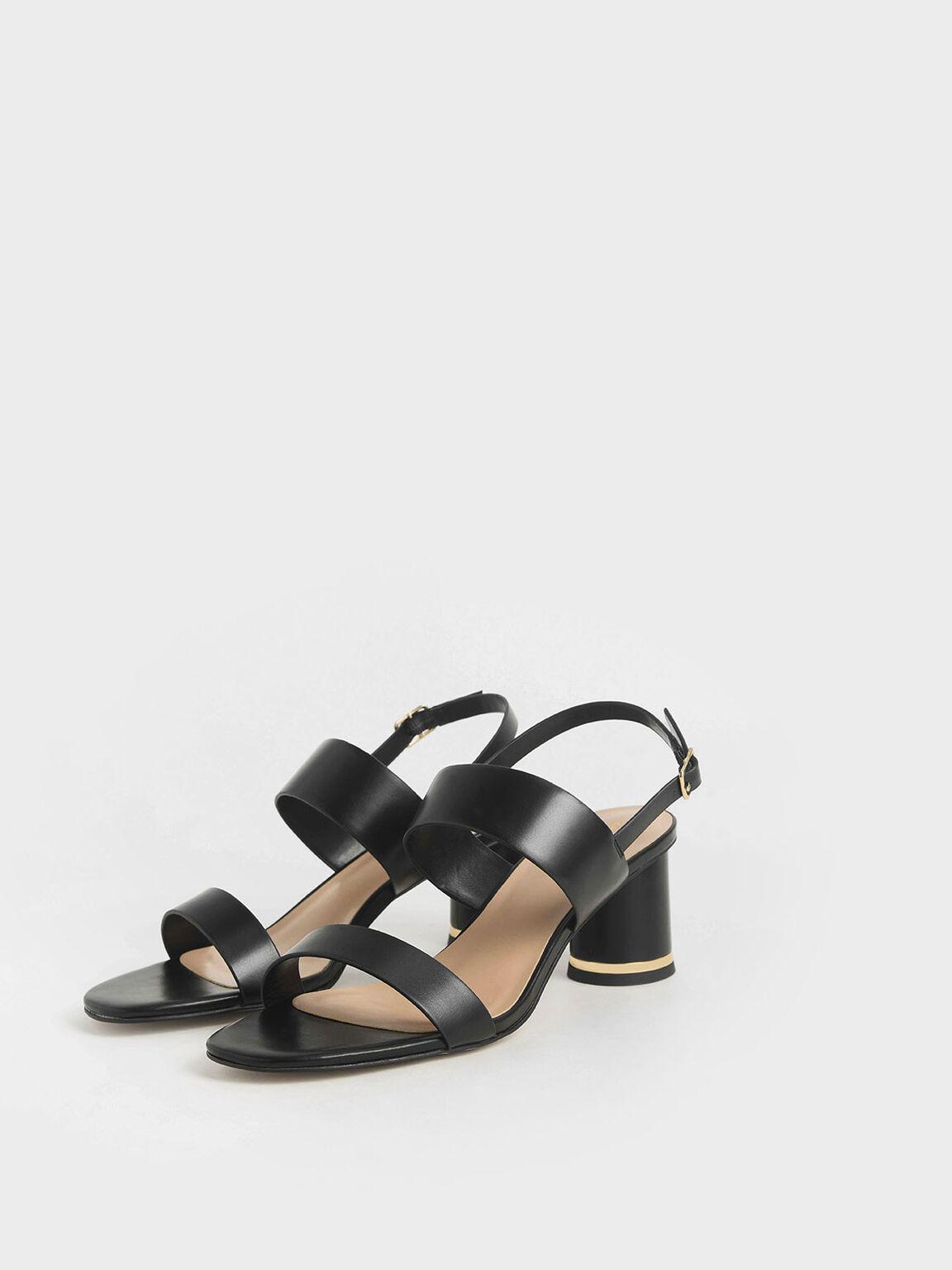 Cylindrical Heel Sandals, Black, hi-res