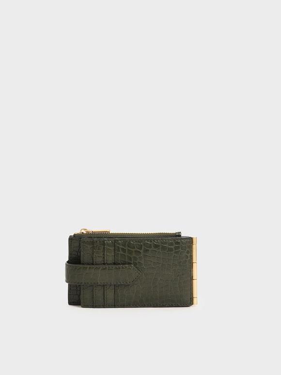 Croc-Effect Thin Front Flap Card Holder, Olive, hi-res