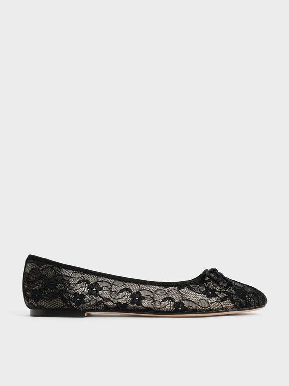 Sepatu Bow-Tie Lace Ballerina Flats, Black, hi-res