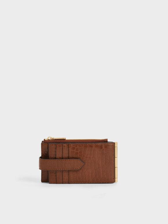 Croc-Effect Thin Front Flap Card Holder, Dark Brown, hi-res