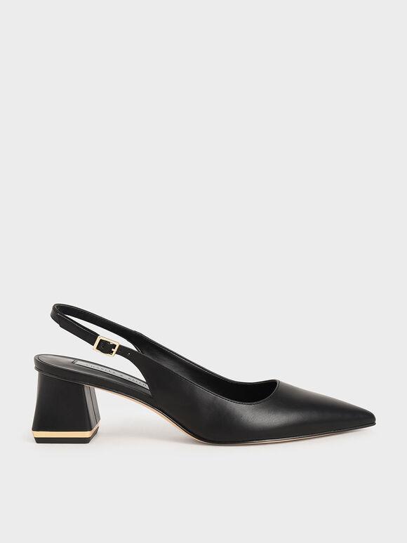 Sepatu Pumps Metallic Accent Slingback, Black, hi-res