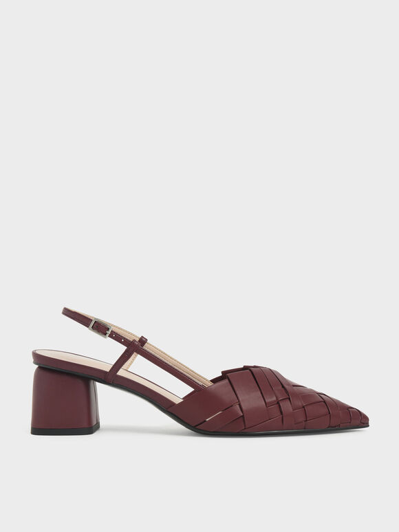 Sepatu Woven Slingback Pumps, Brown, hi-res