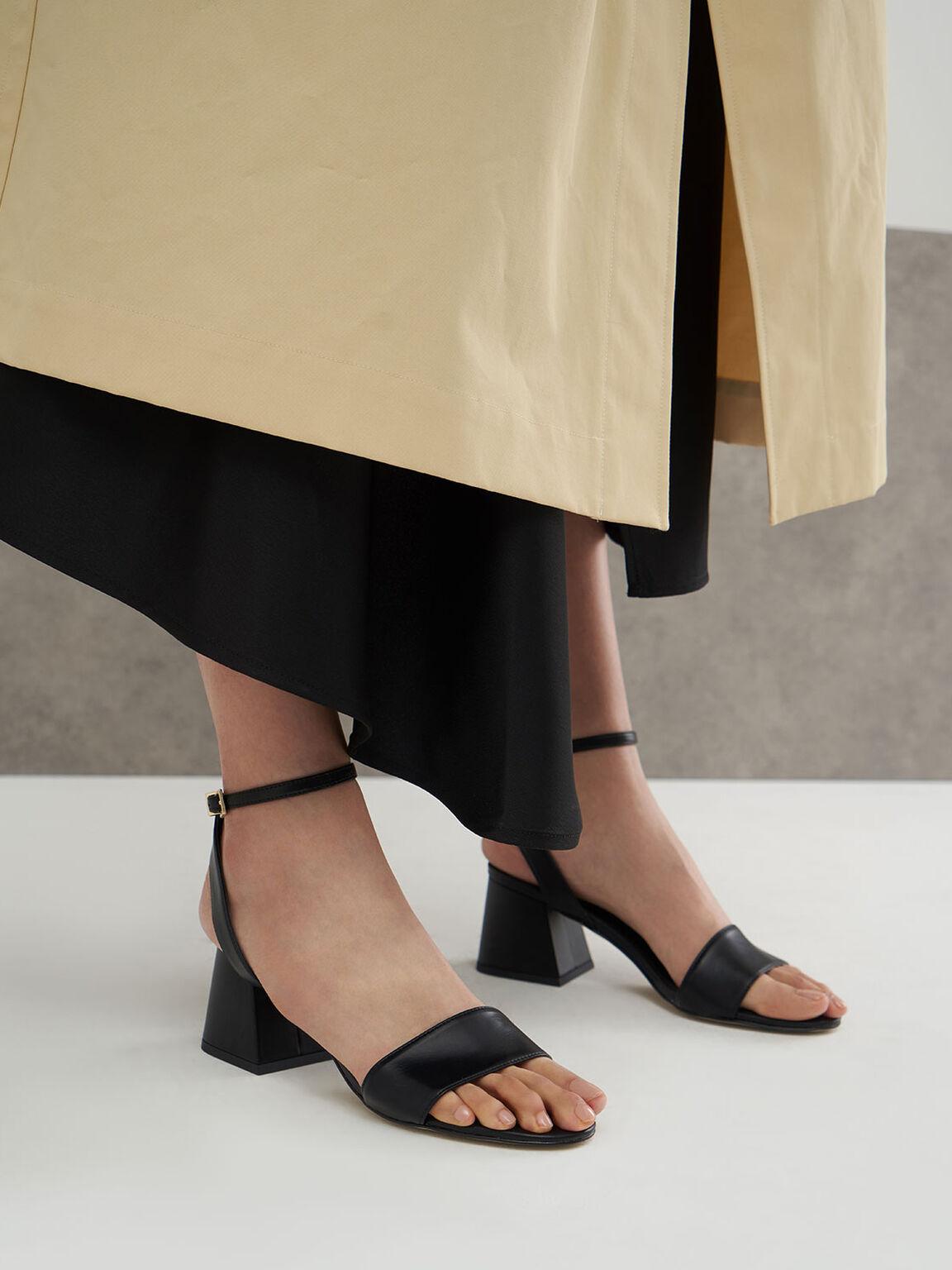 Ankle Strap Heeled Sandals, Black, hi-res