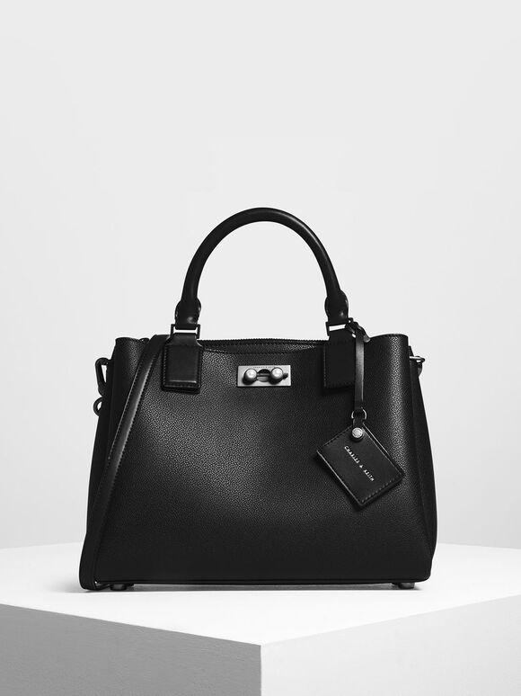 Tas Top Handle Structured, Black, hi-res