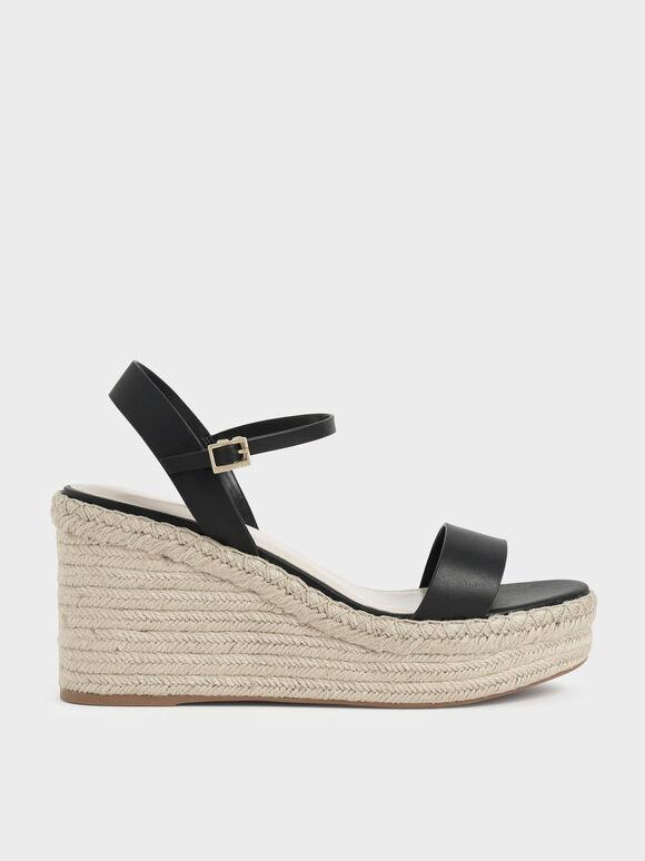 Sepatu Wedges Ankle Strap Espadrille, Black, hi-res