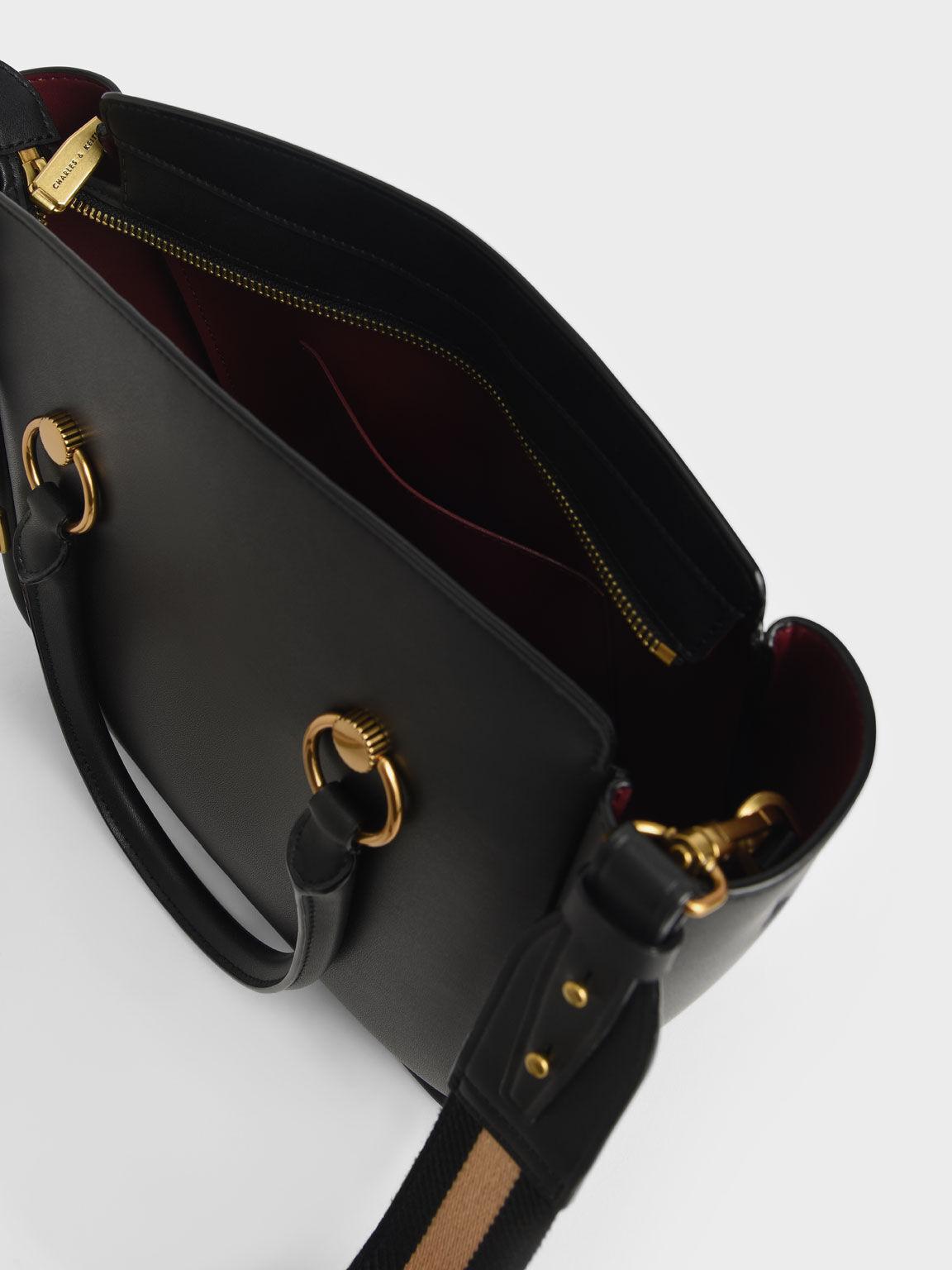 Ring Detail Large Hobo Bag, Black, hi-res
