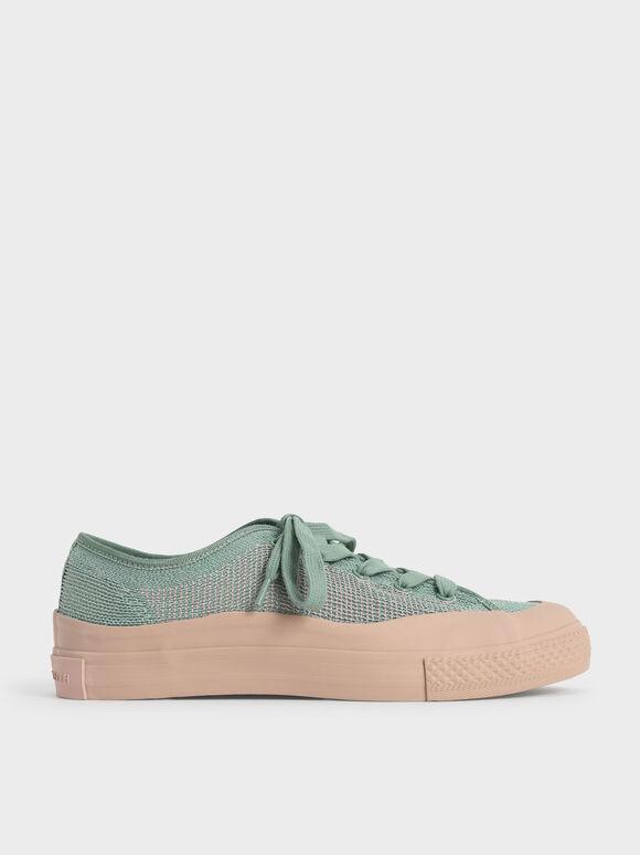 Sepatu Sneakers Knitted Low-Top, Sage Green, hi-res