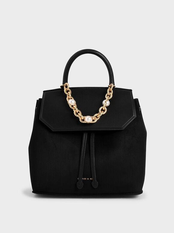 Textured Chain-Link Backpack, Black, hi-res