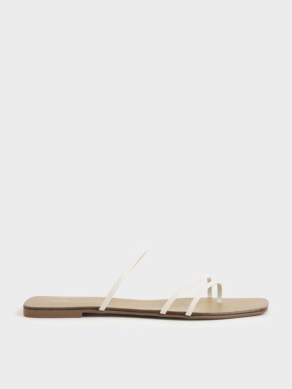 Sandal Strappy Thong, Chalk, hi-res