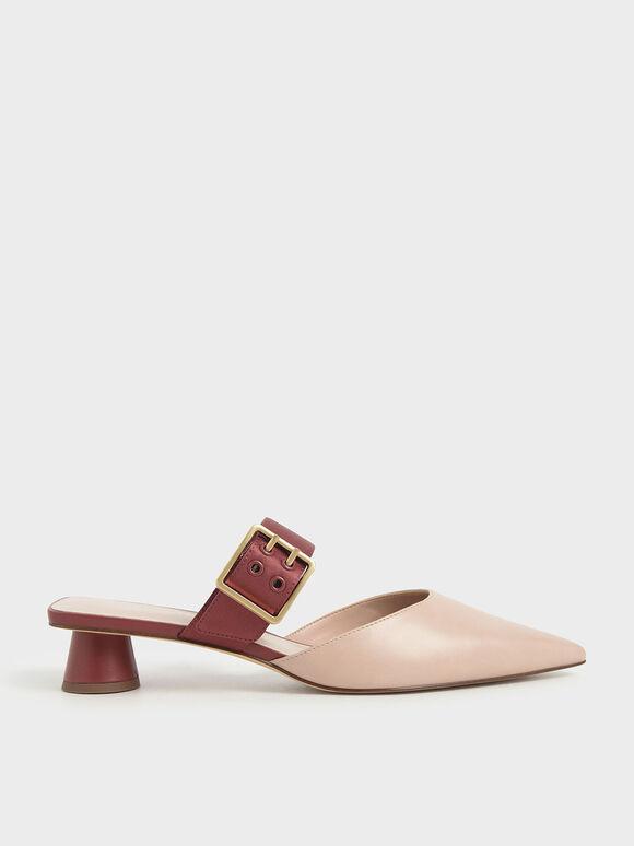 Sepatu Grommet Buckle Mules, Brick, hi-res