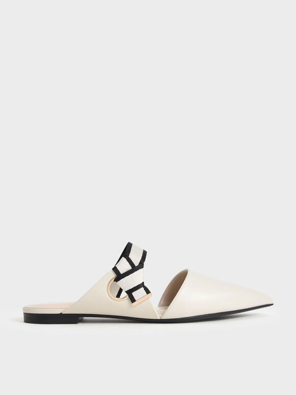 Pointed Toe Fabric Strap Mules, Chalk, hi-res