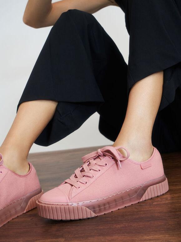 Purpose Collection 2021: Sepatu Platform Katun Organik, Pink, hi-res