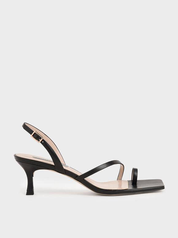 Sandal Toe Ring Slingback, Black, hi-res