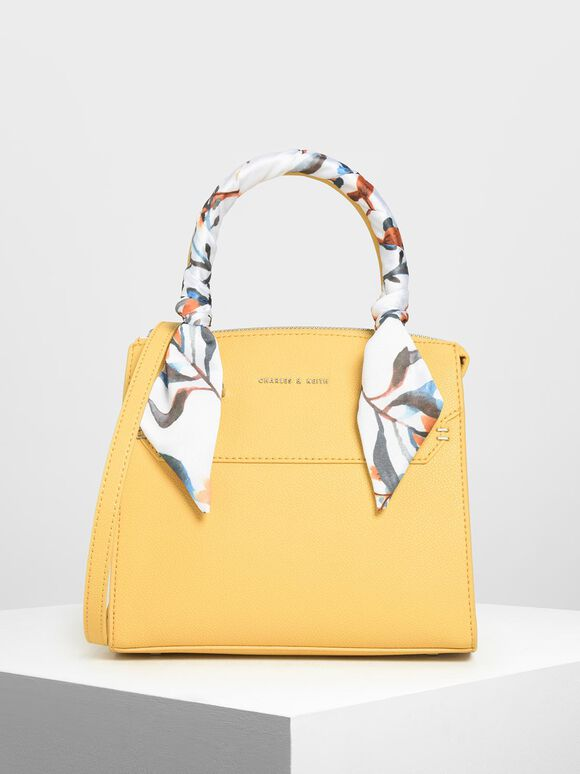 Tas Scarf Wrapped Top Handle, Yellow, hi-res