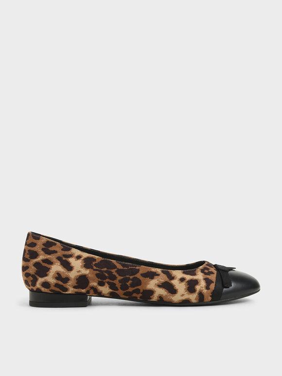 Leopard Print Bow Ballerina Flats, Animal Print Natural, hi-res