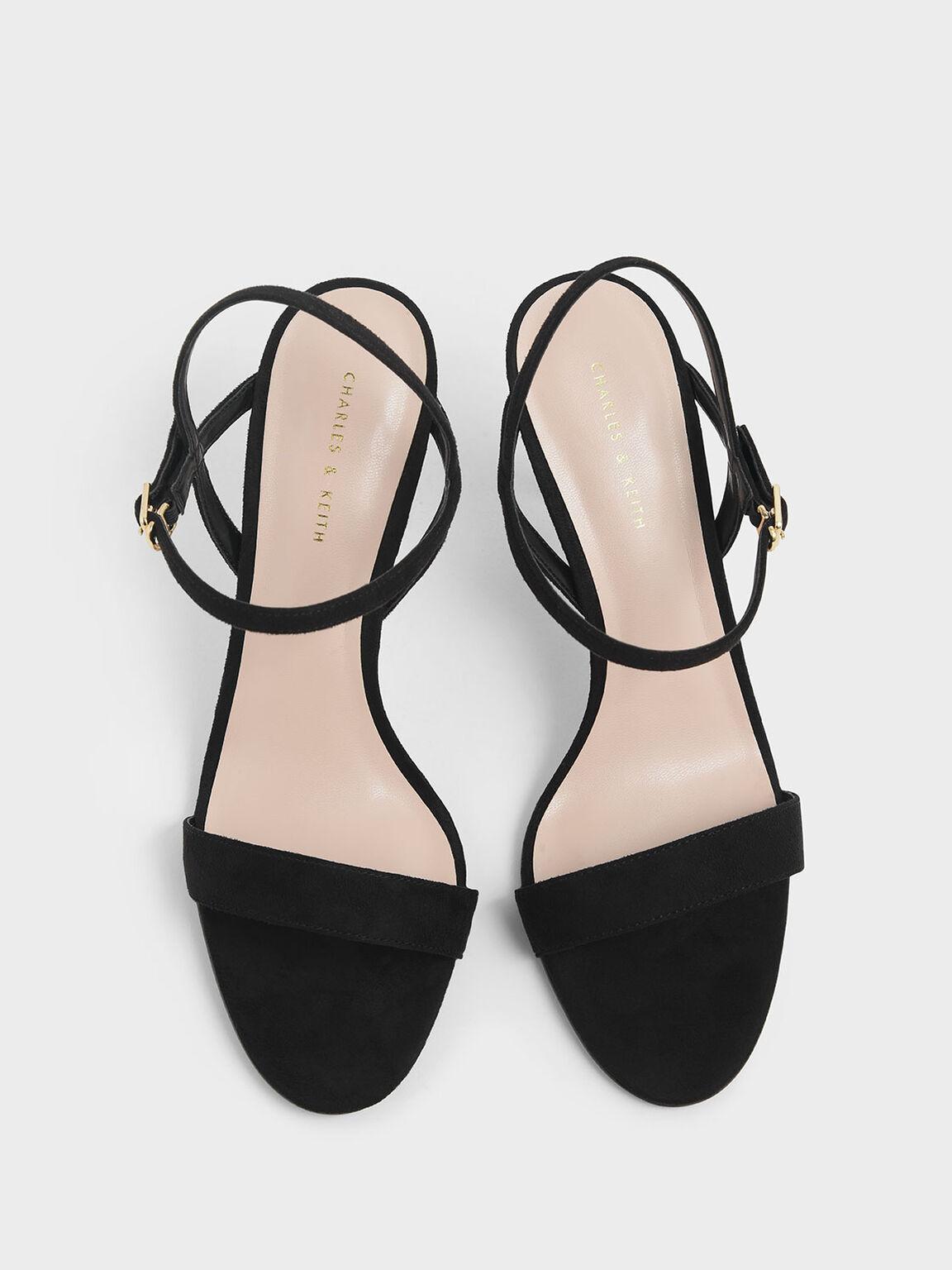 Sandal Tumit Stiletto Klasik Bertekstur, Black, hi-res