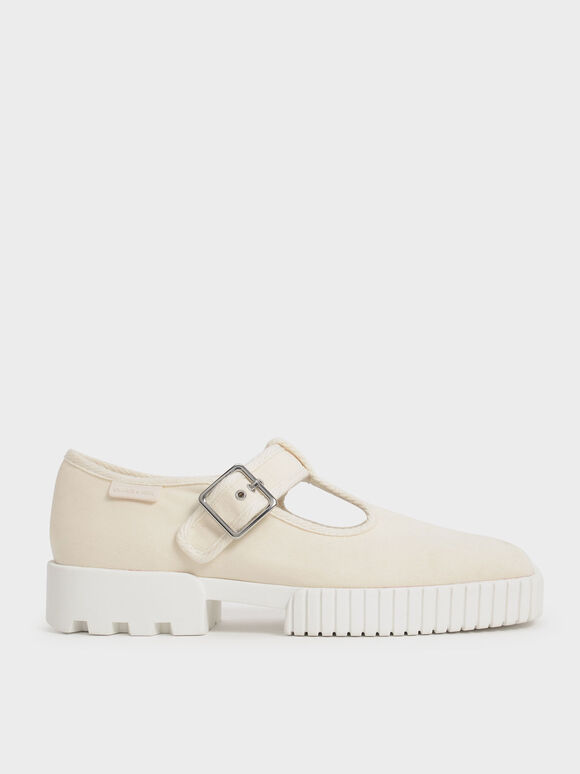 Sepatu Sneakers Recycled Cotton Buckle, Cream, hi-res