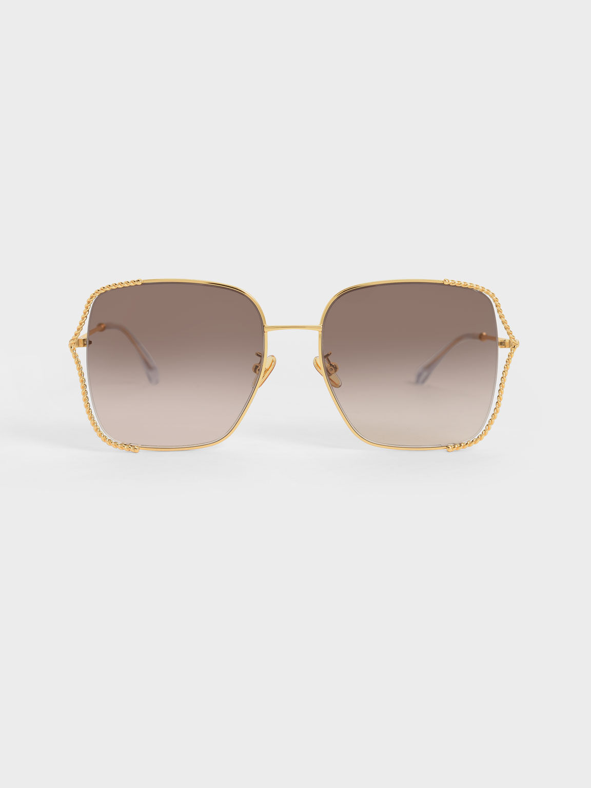 Tinted Butterfly Sunglasses, Gold, hi-res