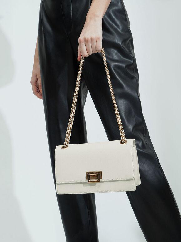 Chain Strap Shoulder Bag, Chalk, hi-res
