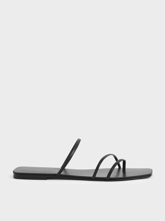 Sandal Strappy Thong, Black, hi-res