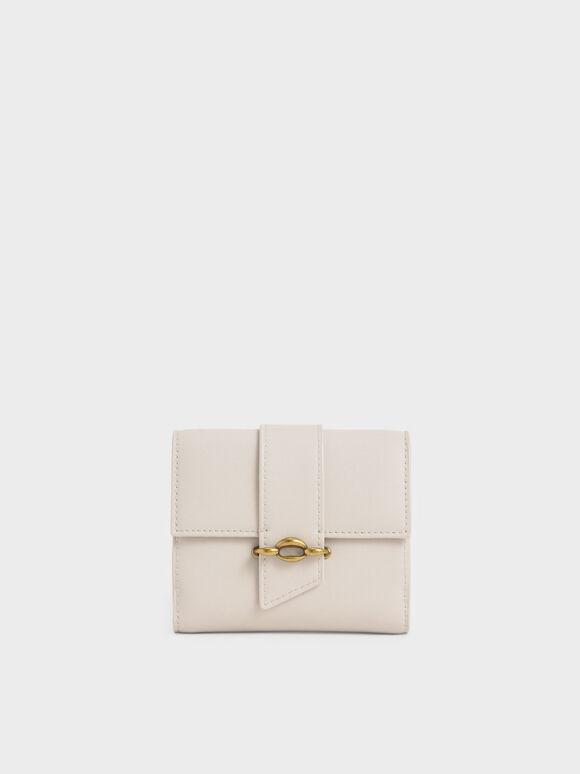Dompet Kecil Belt Buckle Strap, Ivory, hi-res