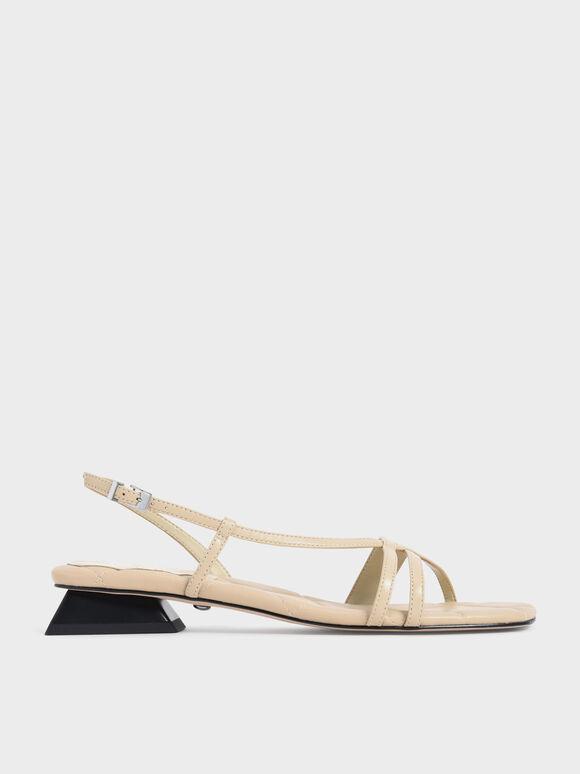 Sandal Leather Trapeze Heel Slingback, Chalk, hi-res