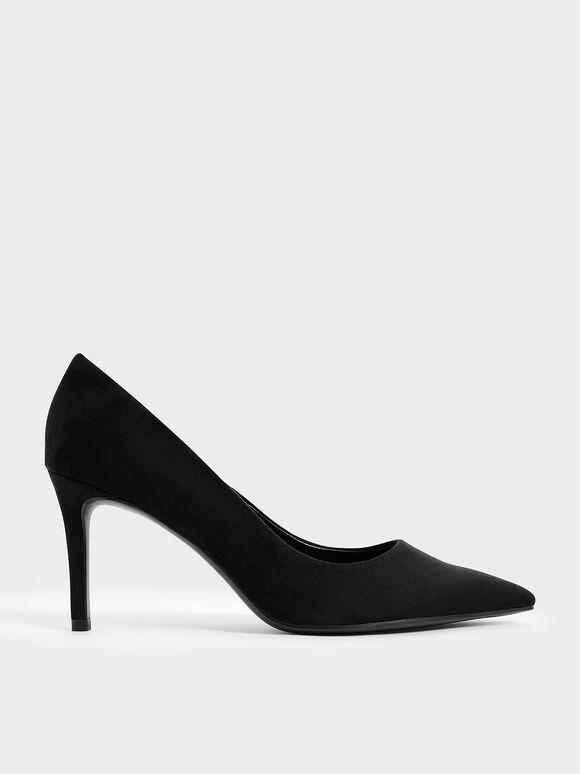 Sepatu Textured Pointed Toe Stiletto Pumps, Black Textured, hi-res