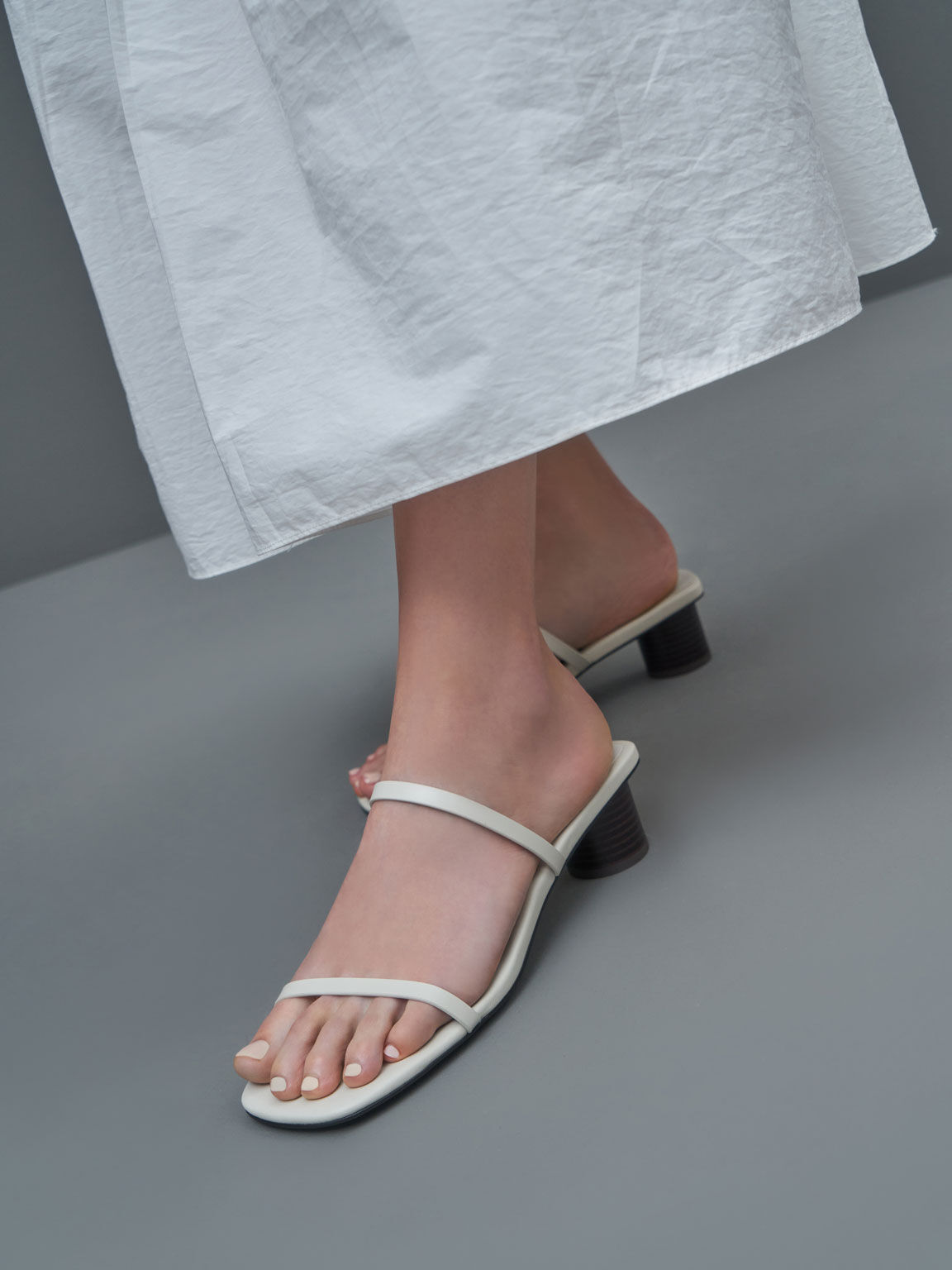 Sandal Double Strap Cylindrical Heel Mules, Chalk, hi-res