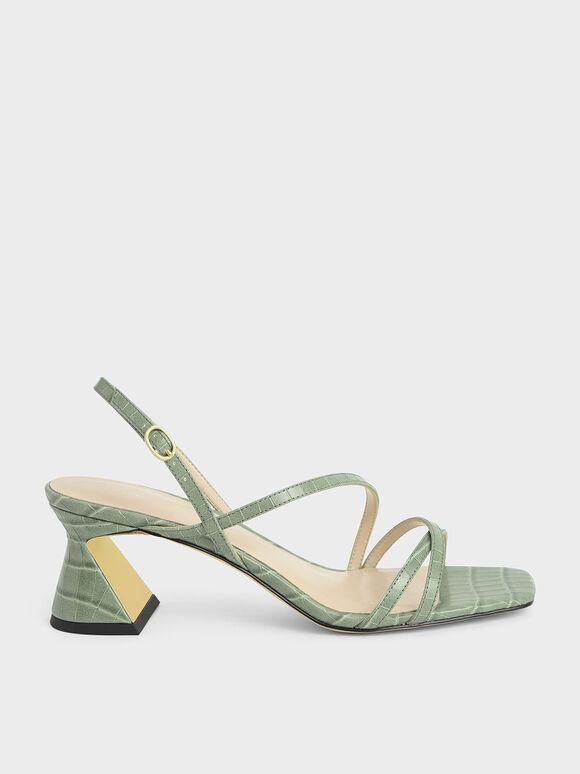 Sandal Croc-Effect Strappy Heeled, Animal Print Green, hi-res