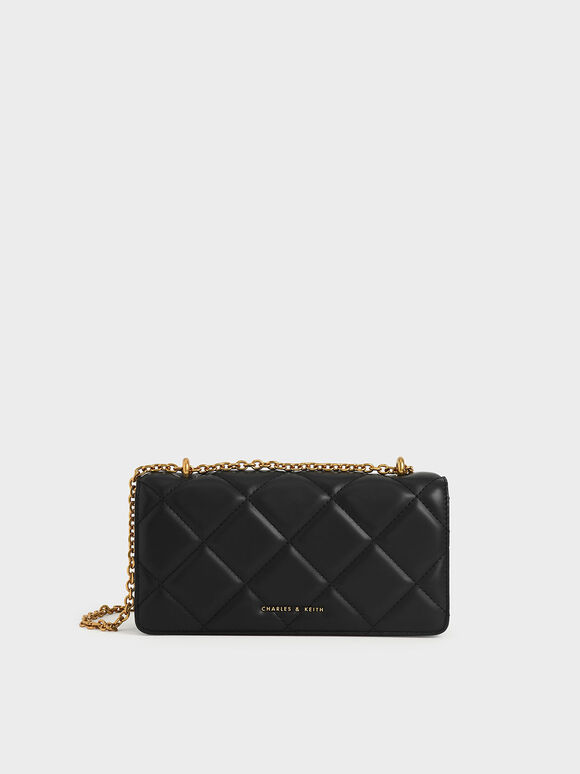 Dompet Panjang Chain Handle Quilted, Black, hi-res