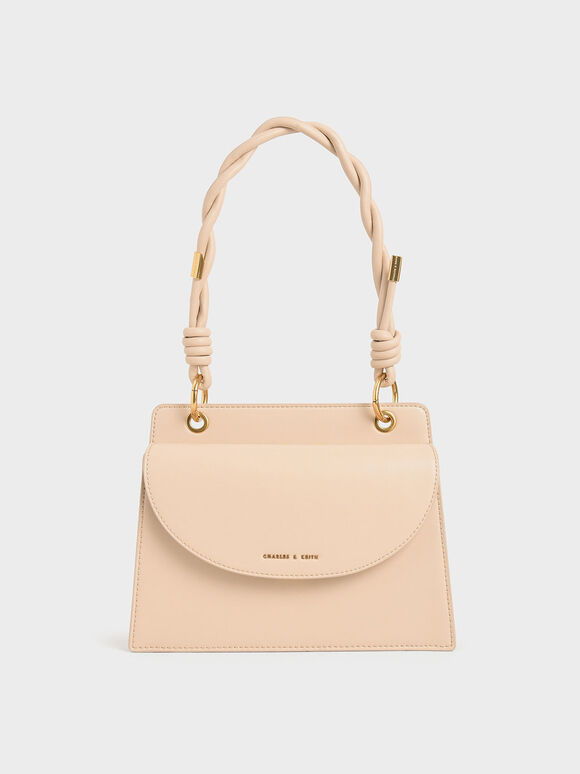 Twist Top Handle Front Flap Bag, Nude, hi-res