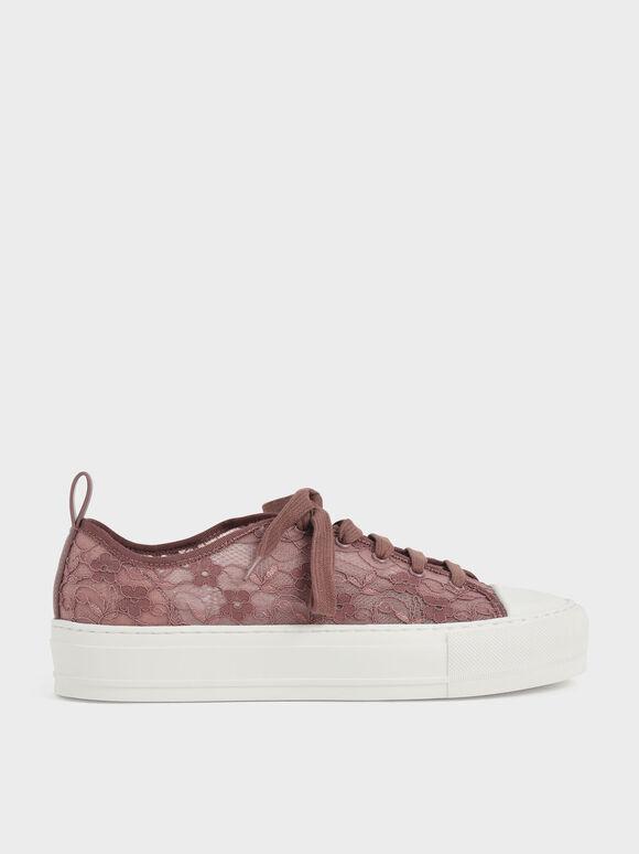 Sepatu Sneakers Lace Low-Top, Mauve, hi-res