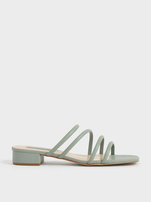 Sandal Tubular Mules, Sage Green, hi-res