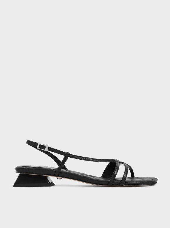 Sandal Leather Trapeze Heel Slingback, Black, hi-res