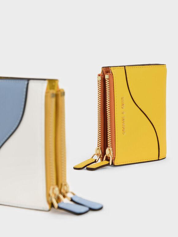 Dompet Mini Ritsleting Atas, Yellow, hi-res